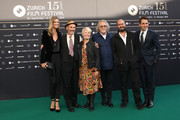 "ZFF Co-Festival director Nadja Schildknecht, Mark Rylance, Claire van Kampen, Michael Fitzgerald, Ciro Guerra and ZFF Co-Festival director Karl Spoerri attend the ""Waiting for the Barbarians"" premiere during the 15th Zurich Film Festival at Kino Corso on September 29, 2019 in Zurich, Switzerland."