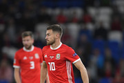 Wales player Aaron Ramsey in action during the UEFA Nations League B group four match between Wales and Republic of Ireland at Cardiff City Stadium on September 6, 2018 in Cardiff, United Kingdom.