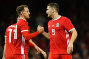Sam Vokes of Wales (9) celebrates after scoring his team's first goal with Aaron Ramsey of Wales during the International Friendly match between Wales and Spain on October 11, 2018 in Cardiff, United Kingdom.