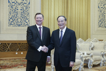 Wang Qishan Russian Presidential Administration Chief Sergei Ivanov Visits China