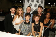 "In this handout photo provided by Warner Bros, Robin Lord Taylor, Erin Richards, Ben McKenzie, Donald Logue, Jada Pinkett Smith, David Mazouz, and Camren Bicondova of ""Gotham"" attend Comic-Con International 2014  on July 26, 2014  in San Diego, California."