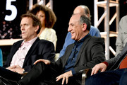 (L-R) Hugh Laurie and Armando Iannucci of 'Avenue 5' appear onstage during the HBO segment of the 2020 Winter Television Critics Association Press Tour at The Langham Huntington, Pasadena on January 15, 2020 in Pasadena, California. 697450
