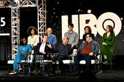 (Back L-R) Lenora Crichlow, Ethan Phillips, Zach Woods, Rebecca Front, Suzy Nakamura, (front L-R) Nikki Amuka-Bird, Hugh Laurie, Armando Iannucci and Josh Gad of 'Avenue 5' appear onstage during the HBO segment of the 2020 Winter Television Critics Association Press Tour at The Langham Huntington, Pasadena on January 15, 2020 in Pasadena, California. 697450