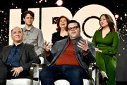 (Back L-R) Zach Woods, Rebecca Front, Suzy Nakamura, (front L-R) Armando Iannucci and Josh Gad of 'Avenue 5' appear onstage during the HBO segment of the 2020 Winter Television Critics Association Press Tour at The Langham Huntington, Pasadena on January 15, 2020 in Pasadena, California. 697450