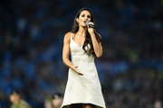 Laura Wright sings prior to the BetFred Super League Grand Final between Warrington Wolves and Wigan Warriors at Old Trafford on October 13, 2018 in Manchester, England.