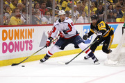 Jay Beagle #83 of the Washington Capitals looks to pass around the stick of Patric Hornqvist #72 of the Pittsburgh Penguins during the third period in Game Six of the Eastern Conference Second Round during the 2018 NHL Stanley Cup Playoffs at PPG Paints Arena on May 7, 2018 in Pittsburgh, Pennsylvania.
