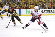 Christian Djoos #29 of the Washington Capitals looks to get a first period shot off past the stick of Patric Hornqvist #72 of the Pittsburgh Penguins in Game Six of the Eastern Conference Second Round during the 2018 NHL Stanley Cup Playoffs at PPG Paints Arena on May 7, 2018 in Pittsburgh, Pennsylvania.