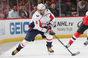 Alex Ovechkin #8 of the Washington Capitals skates against the New Jersey Devils at the Prudential Center on October 11, 2018 in Newark, New Jersey. The Devils defeated the Capitals 6-0.