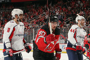 Marcus Johansson #90 of the New Jersey Devils celebrates his goal at 2:54 of the second period against the Washington Capitals at the Prudential Center on October 11, 2018 in Newark, New Jersey.