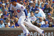 Anthony Rizzo #44 of the Chicago Cubs runs to first base after collecting the 1,000th hit of his career, a single in the 3rd inning, against the Washington Nationals at Wrigley Field on August 11, 2018 in Chicago, Illinois.