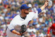 Starting pitcher Jon Lester #34 of the Chicago Cubs delivers the ball against the Washington Nationals at Wrigley Field on August 11, 2018 in Chicago, Illinois.
