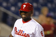 Ryan Howard #6 of the Philadelphia Phillies reacts after striking out as a pinch hitter during the eighth inning against the Washington Nationals at Citizens Bank Park on August 31, 2016 in Philadelphia, Pennsylvania. The Nationals defeated the Phillies 2-1.