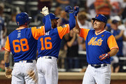 Jay Bruce #19 of the New York Mets is congratulated by Jeff McNeil #68 and Austin Jackson #16 after he hit a two-run home run against the Washington Nationals during the eighth inning of a game at Citi Field on August 24, 2018 in the Flushing neighborhood of the Queens borough of New York City. All players across MLB will wear nicknames on their backs as well as colorful, non-traditional uniforms featuring alternate designs inspired by youth-league uniforms.