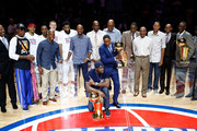 Former Detroit Pistons Isiah Thomas and Ben Wallace pose with the NBA trophies during a halftime ceremony at the final NBA game at the Palace of Auburn Hills between the Detroit Pistons and Washington Wizards on April 10, 2017 in Auburn Hills, Michigan. NOTE TO USER: User expressly acknowledges and agrees that, by downloading and or using this photograph, User is consenting to the terms and conditions of the Getty Images License Agreement.