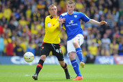Joel Ekstrand of Watford battles with Chris Wood of Leicester City during the npower Championship Play Off Semi Final Second Leg match between Watford and Leicester City at Vicarage Road on May 12, 2013 in Watford, England.
