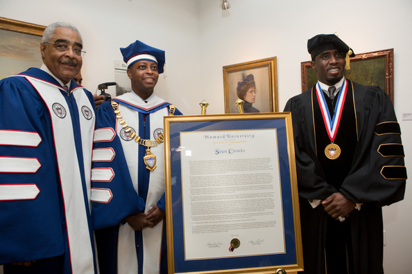 Howard University 2014 Commencement Address [graduation,scholar,event,diploma,academic certificate,phd,academic dress,mortarboard,ceremony,award,addison barry rand,clive callender,wayne a.i.,sean ``diddy combs,benny golson,commencement address,l-r,citation,howard university,commencement]