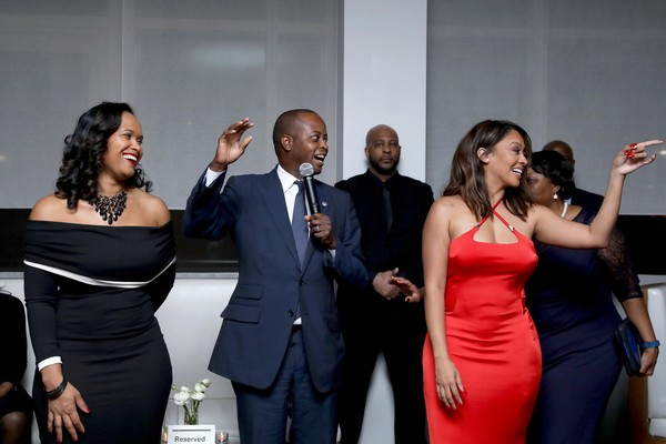 Howard University & La La Anthony Pre-Grammy Party [event,red,formal wear,fashion,dress,shoulder,suit,photography,tuxedo,ceremony,simone frederick,la la anthony,wayne a.i.,l-r,new york city,howard university,la la anthony pre-grammy party]