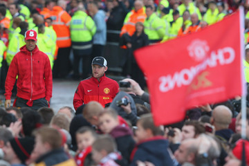 Wayne Rooney Rio Ferdinand Fans Gather at the Manchester United Winners Parade