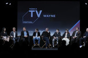 "Iain B. MacDonald, Greg Coolidge, Shawn Simmons, Paul Wernick, Mark McKenna, Kirk Ward, Ciara Bravo, Rhett Reese speak at the ""Wayne"" World Premiere panel during the 2018 Tribeca TV Festival at Spring Studios on September 23, 2018 in New York City."