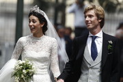 Alessandra de Osma and Prince Christian of Hanover walk after their wedding of Prince Christian of Hanover and  Alessandra de Osma at Basilica San Pedro on March 16, 2018 in Lima, Peru.