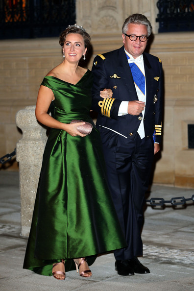 Prince Laurent of Belgium and Princess Claire of Belgium attend the Gala dinner for the wedding of Prince Guillaume Of Luxembourg and Stephanie de Lannoy at the Grand-ducal Palace on October 19, 2012 in Luxembourg, Luxembourg. The 30-year-old hereditary Grand Duke of Luxembourg is the last hereditary Prince in Europe to get married, marrying his 28-year old Belgian Countess bride in a lavish 2-day ceremony.