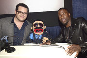 (L-R) Actor Josh Gad, Pepe Billete, and actor/comedian Kevin Hart, and LA Dodgers player Yasiel Puig attend 'The Wedding Ringer' Screening in Miami at Regal South Beach on January 8, 2015 in Miami, Florida.