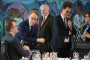 German Health Minister Jens Spahn, Interior Minister Horst Seehofer (C) and Minister for Economic Cooperation and Development Gerd Mueller (2nd from R).attend the weekly government cabinet meeting on May 2, 2018 in Berlin, Germany. High on the morning's agenda were issues relating to federal budget policy.