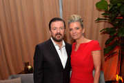 Comedian Ricky Gervais and Jane Fallon attend The Weinstein Company and Netflix Golden Globes Party presented with FIJI Water at The Beverly Hilton Hotel on January 10, 2016 in Beverly Hills, California.