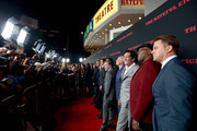 """(L-R) Actors Kurt Russell, Jennifer Jason Leigh, Demian Bichir, Walton Goggins, Tim Roth, Bruce Dern, Michael Madsen, and Samuel L. Jackson attend the world premiere of """"The Hateful Eight"""" presented by The Weinstein Company at ArcLight Cinemas Cinerama Dome on December 7, 2015 in Hollywood, California."""