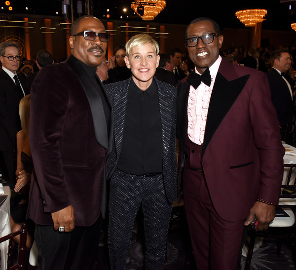 Icelandic Glacial at the 77th Annual Golden Globe Awards On January 5, 2020 At The Beverly Hilton [suit,event,formal wear,tuxedo,premiere,eddie murphy,ellen degeneres,wesley snipes,icelandic glacial,l-r,the beverly hilton,los angeles,ca,golden globe awards,eddie murphy,wesley snipes,76th golden globe awards,ellen degeneres,actor,getty images,wesley snipes,celebrity]