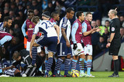 Kieran Richardson of Aston Villa is sent off by referee Mike Dean during the Barclays Premier League match between West Bromwich Albion and Aston Villa at The Hawthorns on December 13, 2014 in West Bromwich, England.