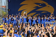 The Eagles celebrate with fans after winning yesterday's AFL Grand Final at Langley Park on September 30, 2018 in Perth, Australia. The West Coast Eagles beat the Collingwood Magpies 11.13 (79) to 11.8 (74).