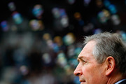 Aston Villa manager Gerard Houllier looks thoughtful ahead of the Barclays Premier League match between West Ham United and Aston Villa at the Boleyn Ground on April 16, 2011 in London, England.