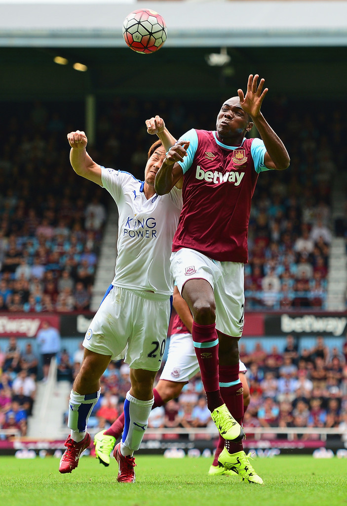 shinji okazaki photos photos west ham united v leicester