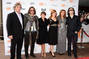 """(L-R) Co-President of Sony Classic Pictures Tom Bernard, actor Johnny Depp, musician Natalie Maines of the Dixie Chicks, Producer Lorri Davis, Director/Producer Amy Berg and producer/documentary subject Damien Echols attend the """"West Of Memphis"""" premiere during the 2012 Toronto International Film Festival at Ryerson Theatre on September 8, 2012 in Toronto, Can"""