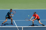 Bruno Soares of Brazil and Jamie Murray of Great Britain play Juan Sebastian Cabal and Robert Farah of Colombia during the men's doubles final of the Western & Southern Open at Lindner Family Tennis Center on August 19, 2018 in Mason, Ohio.