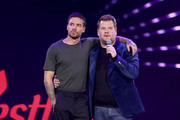 Liam Payne (L) and James Corden on stage during Westfield London's 10th anniversary celebrations at Westfield White City on October 30, 2018 in London, England.