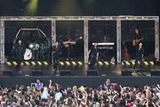 Mark Feehily, Nicky Byrne,  Kian Egan and Shane Filan of Westlife perform at Newbury racecourse on August 14, 2010 in Newbury, England