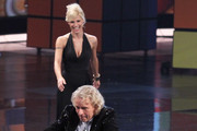 TV host Thomas Gottschalk and TV host Michelle Hunziker attend the 198th 'Wetten, dass ...?' show at Messe Leipzig on November 5, 2011 in Leipzig, Germany.