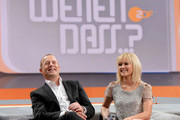 In this handout provided by the ZDF, Heino Ferch and Helene Fischer sit on the couch at 'Wetten dass..?' From Freiburg on December 8, 2012 in Freiburg im Breisgau, Germany.