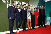 """(L-R) Ralph Fiennes, Oleg Ivenko, Andrew Levitas, Adele Exarchopoulos, Carolyn Marks Blackwood, Chulpan Khamatova, Gabrielle Tana and David Hare attend the UK Premiere of """"The White Crow"""" & Create Gala at the 62nd BFI London Film Festival on October 18, 2018 in London, England."""