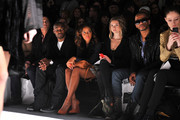 (L-R) Photographer Nigel Barker, model Tyson Beckford, TV peronality Angela Simmons, actress Allie Gonino, actor Eric West, and model Coco Rocha attend the Whitney Eve Fall 2012 fashion show during Mercedes-Benz Fashion Week at The Studio at Lincoln Center on February 15, 2012 in New York City.