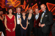 "(L-R) Charlotte Merz, Volker Bouffier, Ursula Bouffier, Julia Kloeckner, Ralph Grieser and Friedrich Merz attend the awarding of the medal ""Wider den tierischen Ernst"" during the carnival season on February 08, 2020 in Aachen, Germany."