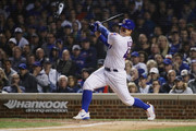 Anthony Rizzo #44 of the Chicago Cubs hits a single in the eighth inning against the Colorado Rockies during the National League Wild Card Game at Wrigley Field on October 2, 2018 in Chicago, Illinois.