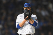 Jon Lester #34 of the Chicago Cubs stands on the pitcher's mound in the fourth inning against the Colorado Rockies during the National League Wild Card Game at Wrigley Field on October 2, 2018 in Chicago, Illinois.
