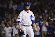 Jon Lester #34 of the Chicago Cubs looks on in the first inning against the Colorado Rockies during the National League Wild Card Game at Wrigley Field on October 2, 2018 in Chicago, Illinois.