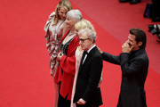 """Actresses Lucy Punch, Gemma Jones, Naomi Watts, Director Woody Allen and Actor Josh Brolin attend the """"You Will Meet A Tall Dark Stranger"""" Premiere at the Palais des Festivals during the 63rd Annual Cannes Film Festival on May 15, 2010 in Cannes, France."""