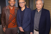 (L-R) Will Smith, CEO of Microsoft Satya Nadella, and Ang Lee visit Microsoft for the Outside-In Fireside Chat in support of GEMINI MAN on October 3, 2019 in Seattle, WA.