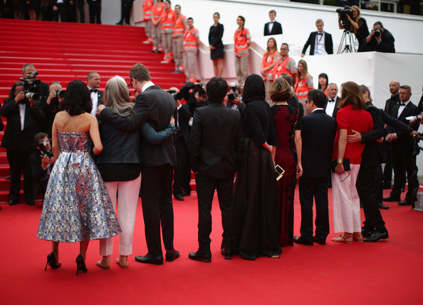 Palm D'Or Winners Red Carpet - The 67th Annual Cannes Film Festival [red carpet,red carpet,red,carpet,premiere,event,flooring,crowd,dress,ceremony,winners,members,jury,winners,leila hatami,palm dor,l-r,red carpet,cannes film festival]