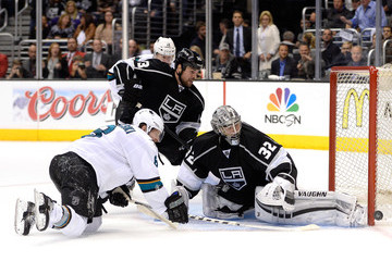 Willie Mitchell Jonathan Quick San Jose Sharks v Los Angeles Kings - Game Four